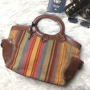 FOSSIL Leather Canvas Striped Handle Hobo Satchel